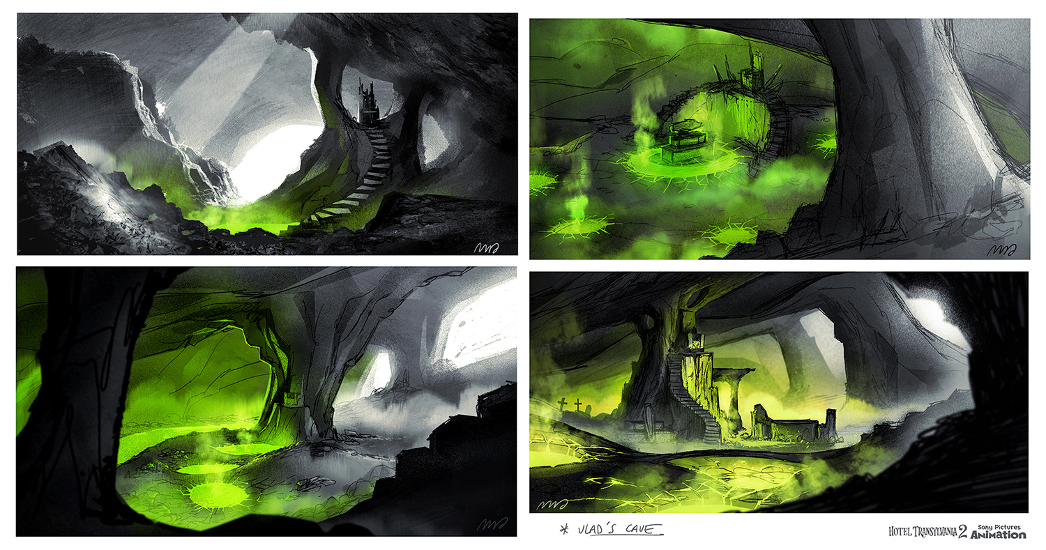 It was ultimately decided that Vlad should live in a cave. These are the explorations for it.