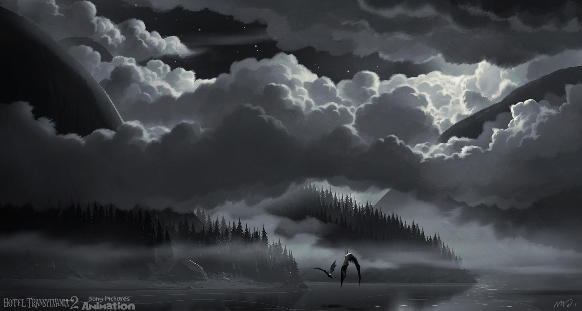 Cloud sequence where Mavis reveals Drac that she's pregnant.
