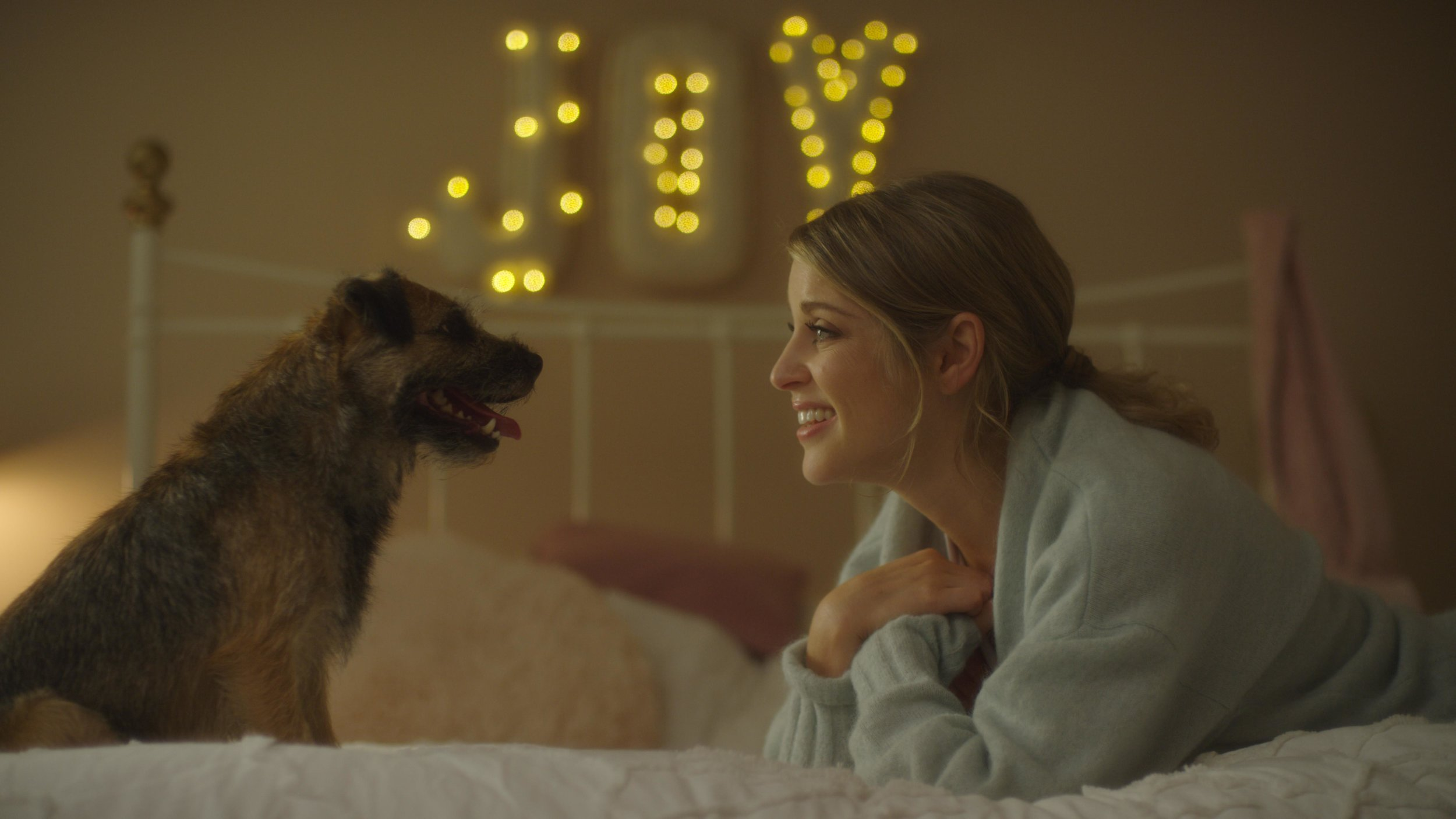Amy Huberman as Joy, with Canine Aidan, in Finding Joy (2018)