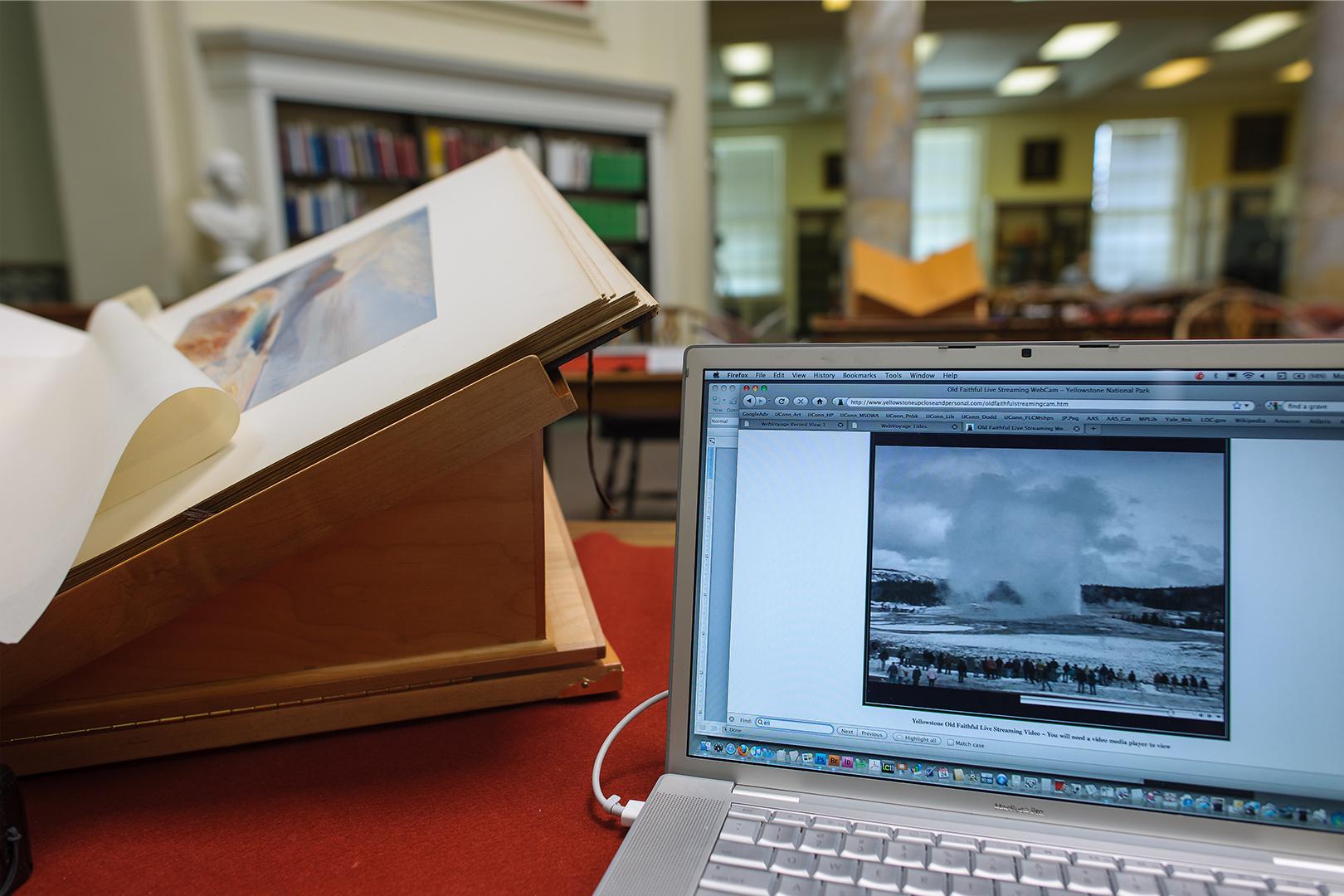 Old Faithful Erupting on Live Web Cam & Prang Portfolio of Moran Sketches, American Antiquarian Society