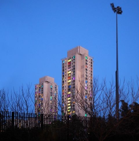 Alt MediaTowers illuminate to meettheir Waterloo - The twin towers at the centre of Waterloo public housing estate have been illuminated with squares of coloured lighting for an arts project that draws attention to their uncertain future.Visible from a distance, the 30-storey high Matavai and Turanga building windows... more