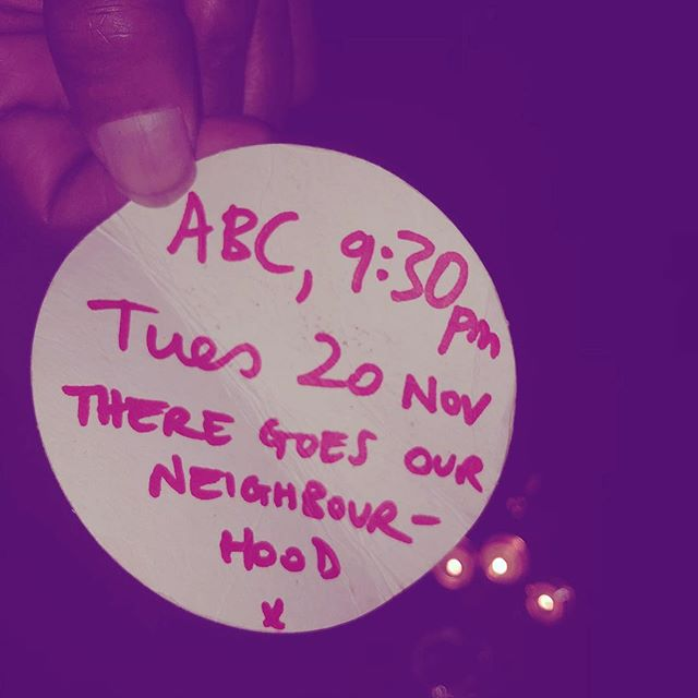 Spread the word anyway you can! A beer mat will do! Tune in ABC Arts on Tues 20th Nov 9.30pm to see our doco go live #theregoesourneighbourhood #welivehere2017 #publichousing #housingactivism #gentrification #auspol #waterloo #sydney