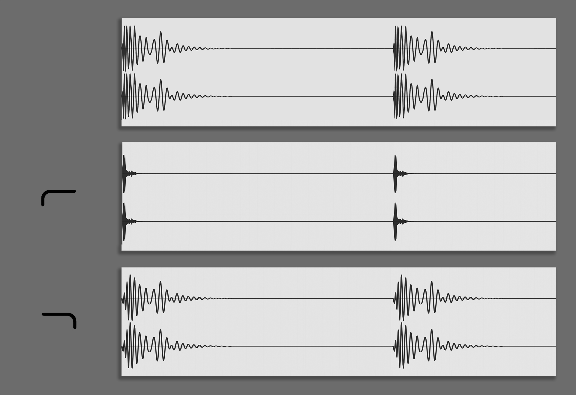 A kick sample ( top ) is broken into its component parts - a high-pass filter ( middle ) isolates the click (boosted for this image) and a low-pass shows the sustained bass portion of the sound ( bottom ).