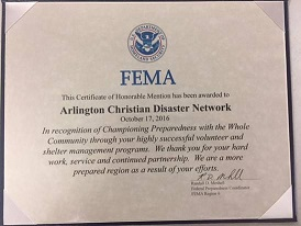 FEMA Certificate of Honorable Mention