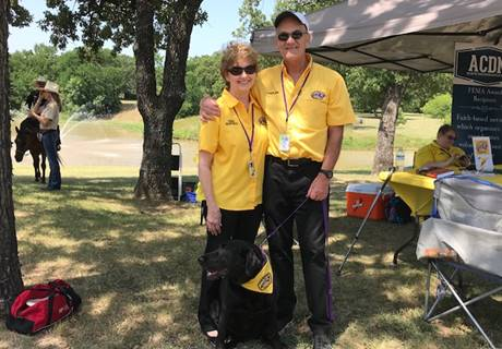 Tarrant County Chapter Director, Don Gieseke along with wife and Comfort Dog, Dolly