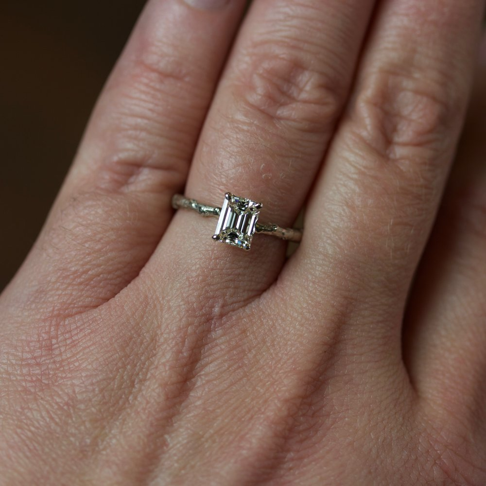 1 Ct Solitaire Emerald Cut Natural Emerald And Diamond Twig Engagement Ring Mary John Fine Jewelry