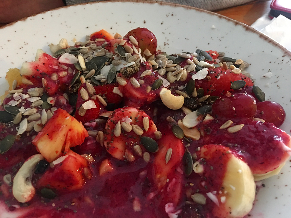 Fruit salad with berry smoothie, nuts and seeds was my regular breakfast in May-June.