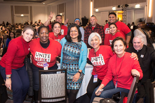 Leaders from UNITE HERE with Congresswoman Pramila Jayapal (WA).