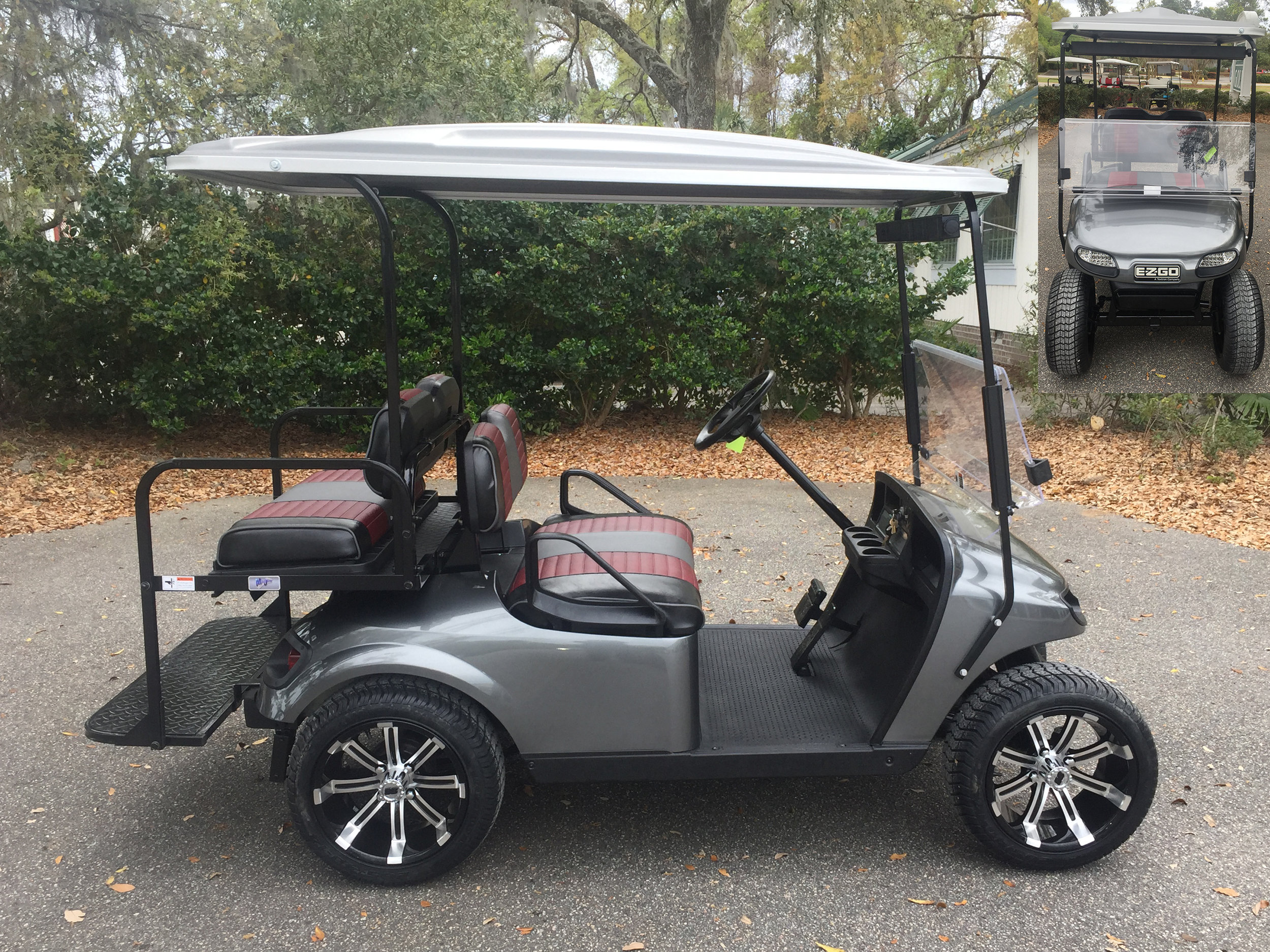 2015 Charcoal EZGO Cart  Charcoal/maroon/black seats, gray extended top, new 2019 batteries, high speed code, LED lights, Lo Pro tires, mirror, and flip windshield