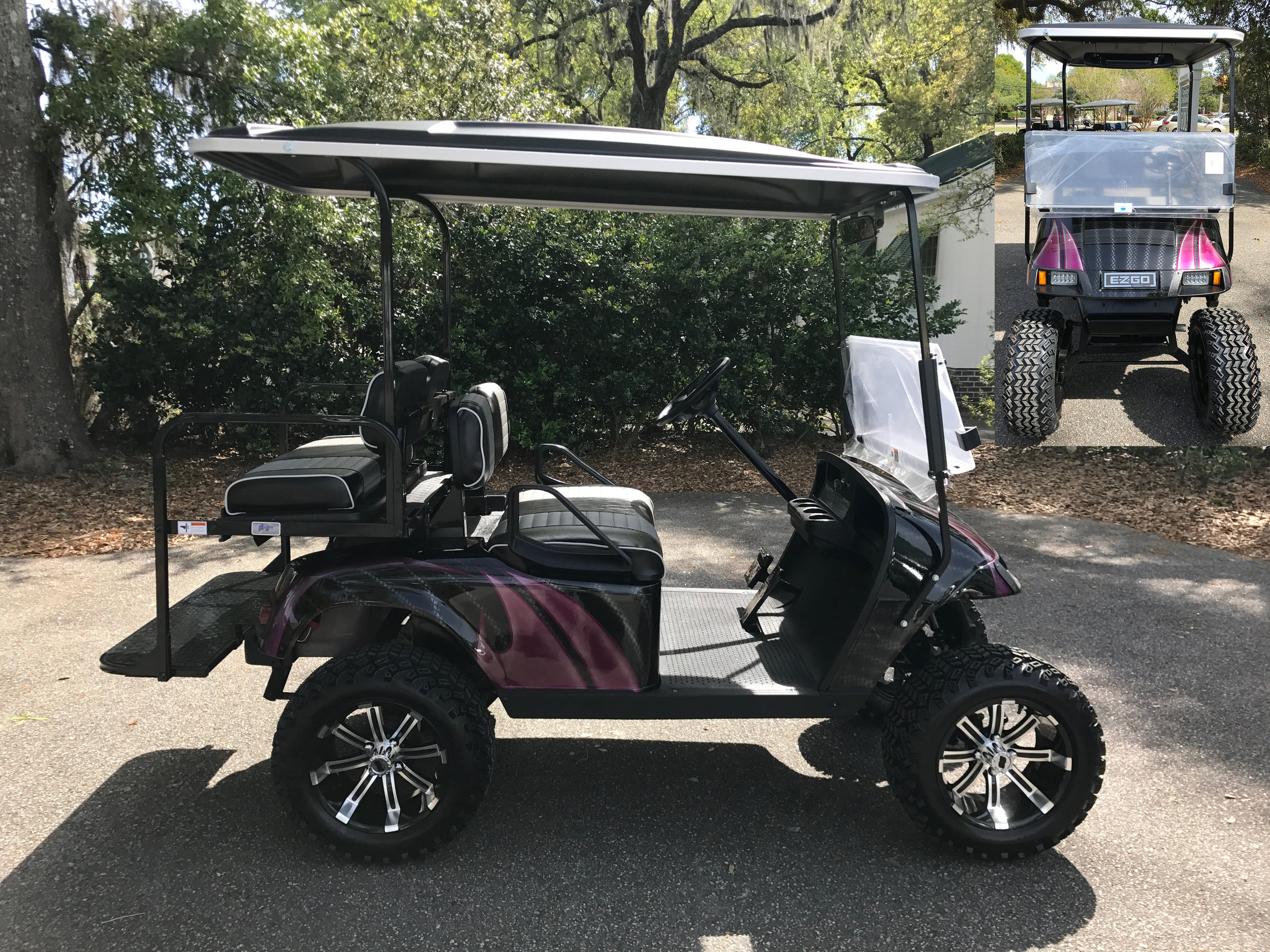 Magenta Swirl EZGO Lifted Cart  Black/charcoal seats, black extended top, new batteries, high speed code, LED lights, Backlash (23x10x14) tires, mirror, flip windshield, and state of charge meter