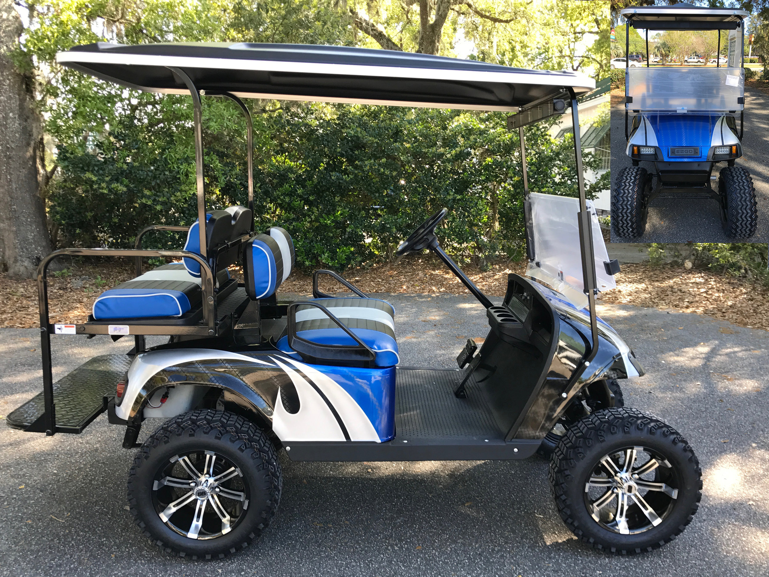 Viper Blue Swirl EZGO Lifted Cart  Viper blue/black/gray seats, black extended top, new batteries, high speed code, LED lights, Backlash (23x10x14) tires, mirror, flip windshield, and state of charge meter