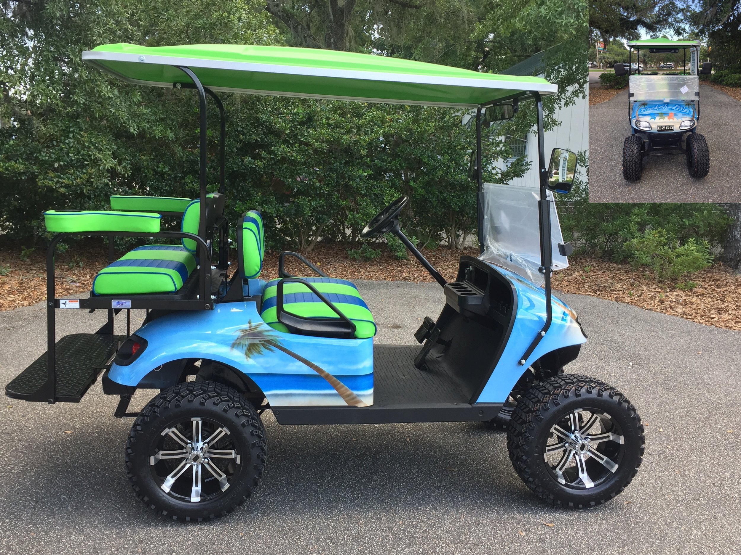 Blue Beach Life EZGO Lifted Cart  Blue/lime green seats, lime green extended top, new 2018 (6-8vt) batteries, high speed code, LED lights, Backlash (23x10x14) tires, rear cup holders, mirror & side mirrors, flip windshield, and state of charge meter