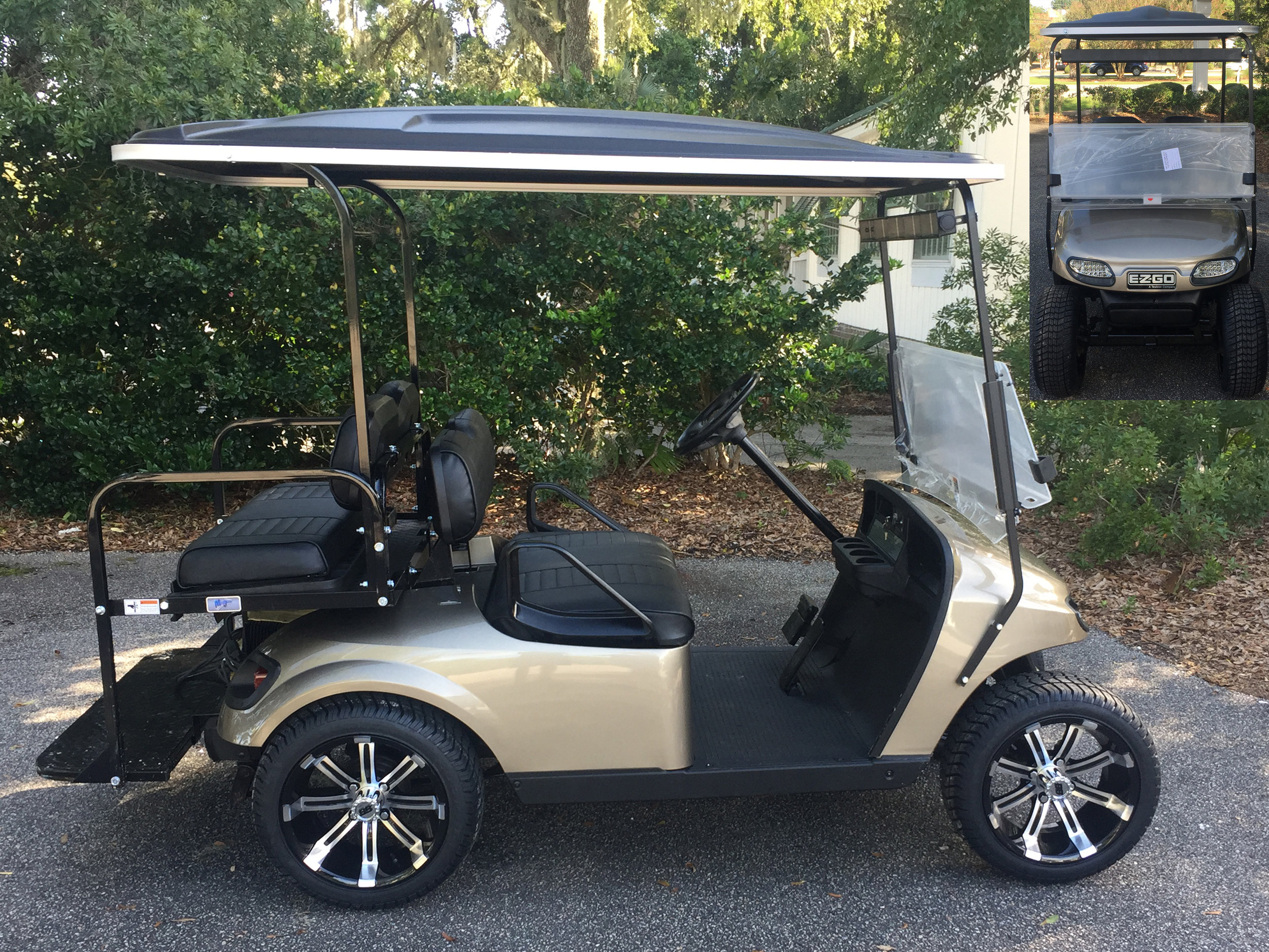 2015 Almond (Pewter) EZGO Cart ——- In Stock  Black seats, black extended top, new (2019) batteries 48vt (6-8), high speed code, LED lights, Lo Pro tires, mirror, and flip windshield