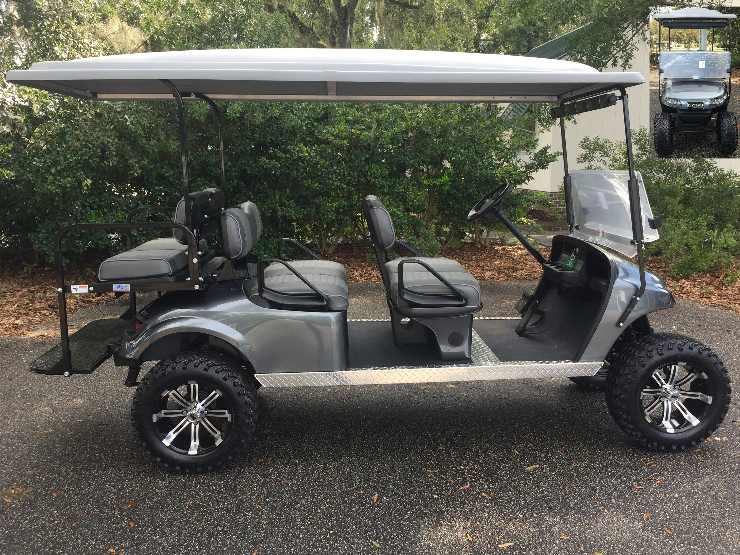 2015 Charcoal EZGO Lifted Trolley ——-  Charcoal/smoke seats, grey top, new (2019) 6-8vt batteries, high speed code, LED lights, Backlash (23x10x14) tires, state of charge meter, mirror, and flip windshield