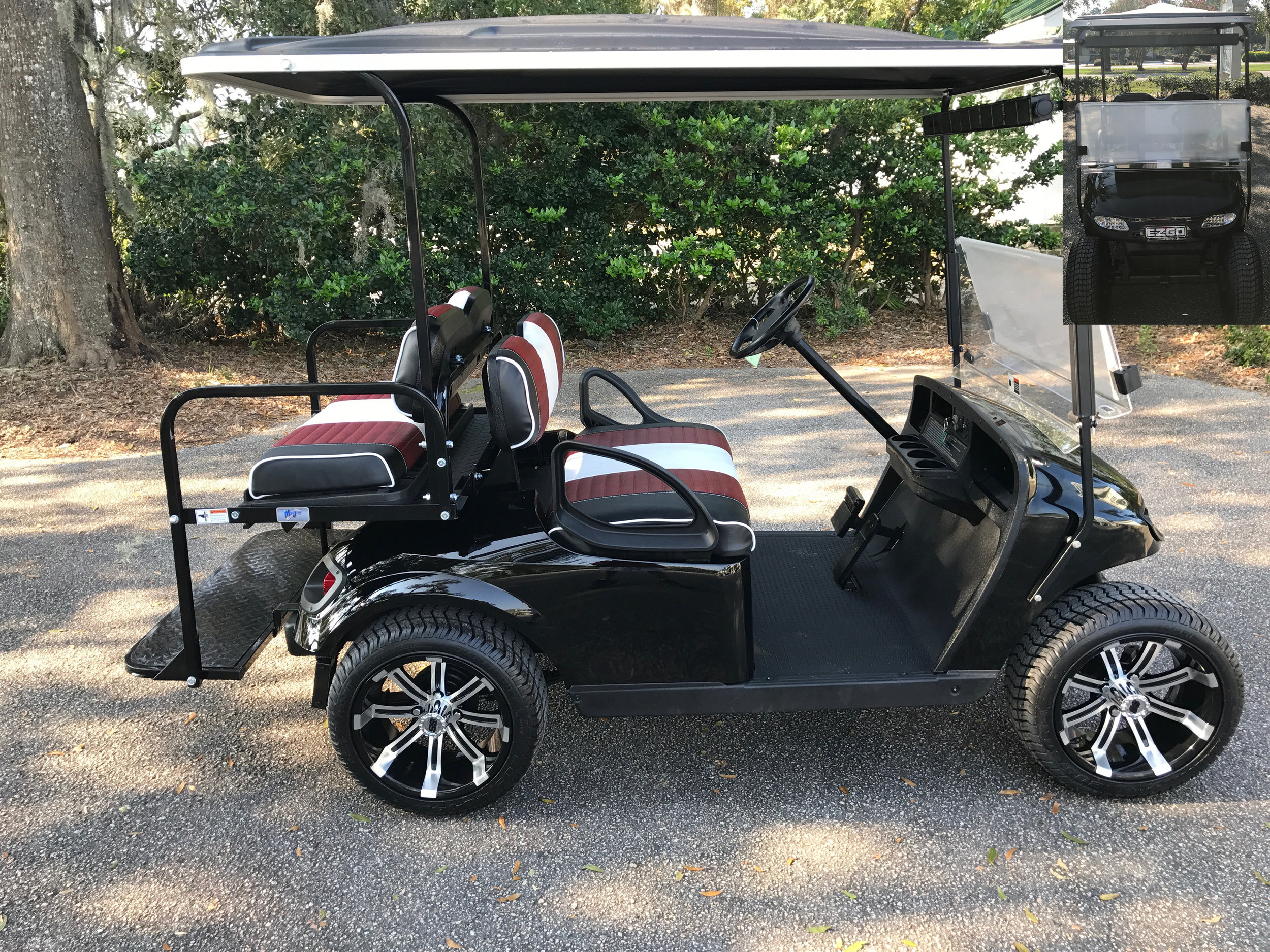 2015 Black EZGO Cart ———————-  Black, burgundy, and gray seats, black extended top, new 2019 batteries (6-8vt), high speed code, LED lights, Low Pro tires, mirror, flip windshield, and state of charge meter
