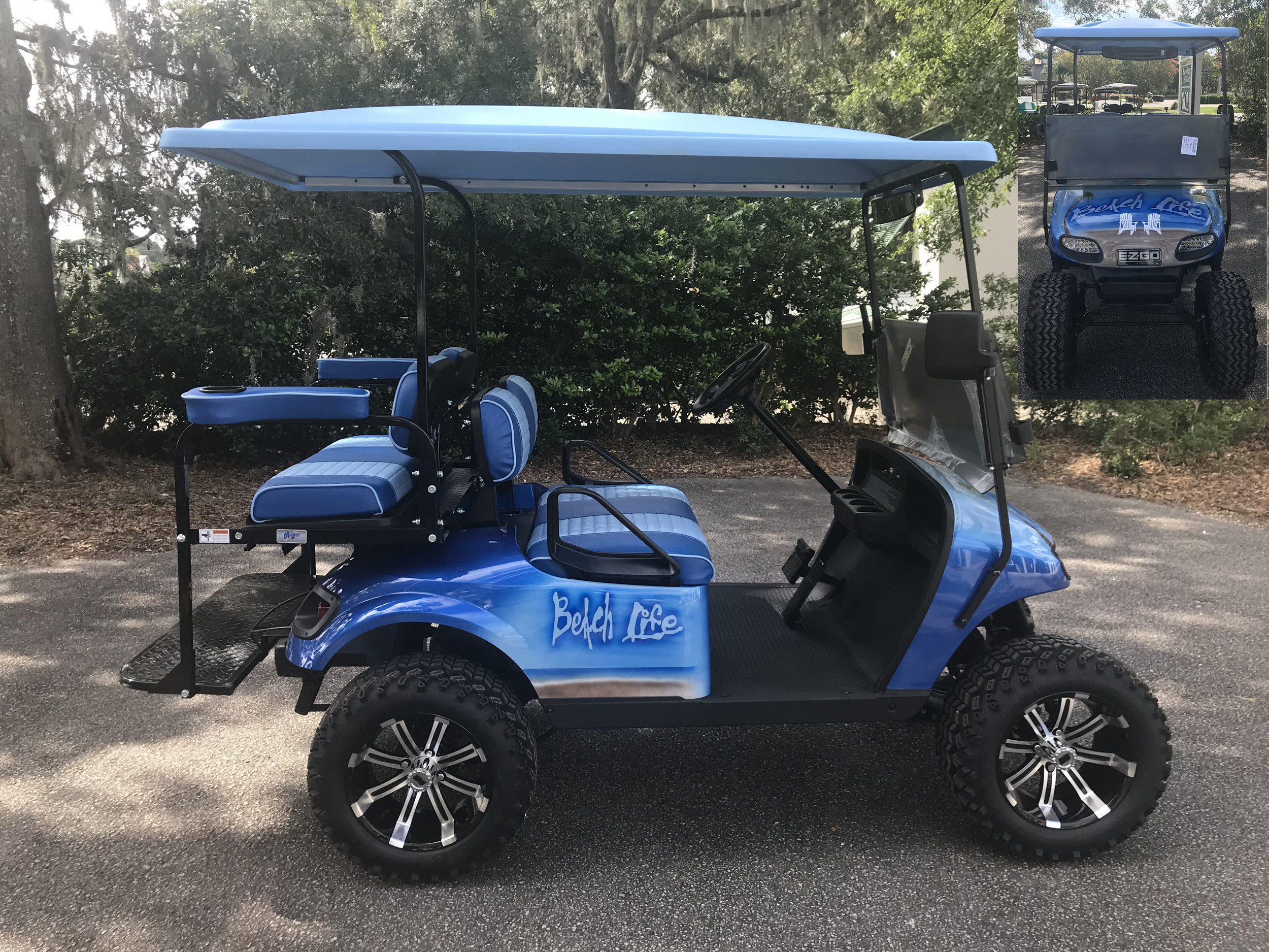 Beach Life EZGO Lifted Cart  Viper blue/light blue seats, light blue extended top, new 2018 (6-8vt) batteries, high speed code, LED lights, Backlash (23x10x14) tires, flip windshield, mirror and side mirrors, rear cup holders, and state of charge meter