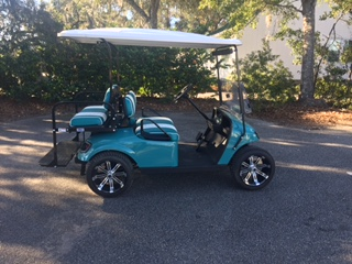 2015 Teal EZGO Cart ———————-  Teal/white seats, white extended top, new 2019 (6-8vt) batteries, Lo Pro tires, high speed code, mirror, flip windshield & LED lights
