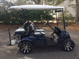 2015 Navy EZGO Cart ————— In Stock  Navy/white seats, white long top, new 2019 batteries 48vt (6-8), mirror, flip windshield, high speed code, Lo Pro tires & LED lights