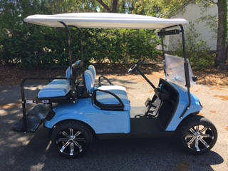 2015 Lt Blue EZGO Cart —————-  Lt. Blue/charcoal seats, grey extended top, new 2018 batteries (6-8vt), mirror, flip windshield, Lo Pro tires, high speed code & LED lights