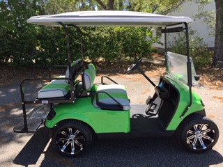 Lime Green EZGO Cart  Lime green/charcoal seats, grey extended top, new (2018) batteries, high speed code, LED lights, Lo Pro Tires 14' wheels, mirror, flip windshield and state of charge meter