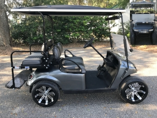 2015 Charcoal EZGO Cart ————— In Stock  Charcoal/black seats, black extended top, new 2019 batteries 48vt (6-8), high speed code, LED lights, Lo Pro tires, mirror, and flip windshield