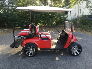 2015 Red EZGO Cart ——————— In Stock  Red/white seats, white extended top, new 2019 batteries 48vt (6-8), high speed code, LED lights, Lo Pro tires, mirror, and flip windshield