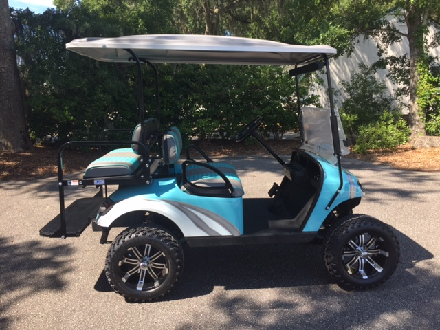 2014 AQUA SWIRL EZGO Lifted Cart  Aqua/charcoal seats, gray extended top, new (2018) batteries 6-8vt, high speed code, LED lights, Backlash (23x10x14) tires, and state of charge meter