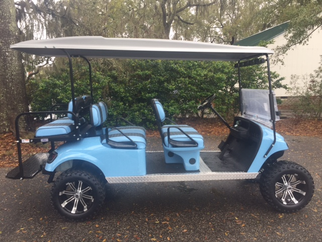 2015 Light Blue EZGO Lifted Trolley ——  Lt. Blue/charcoal seats, grey top, new 2019 batteries 48vt (6-8), high speed code, LED lights, Backlash (23x10x14) tires, state of charge meter, mirror, and flip windshield