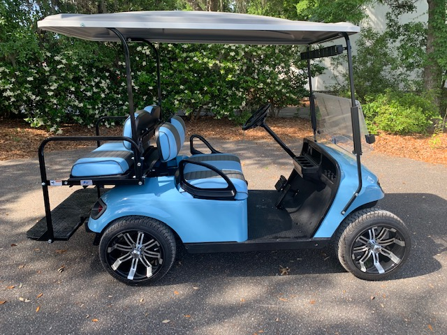 2015 Lt. Blue EZGO Cart ——————- In Stock  Lt. Blue/white seats, gray extended top, new 2019 batteries 48vt (6-8), mirror, flip windshield, high speed code, Lo Pro tires & LED lights