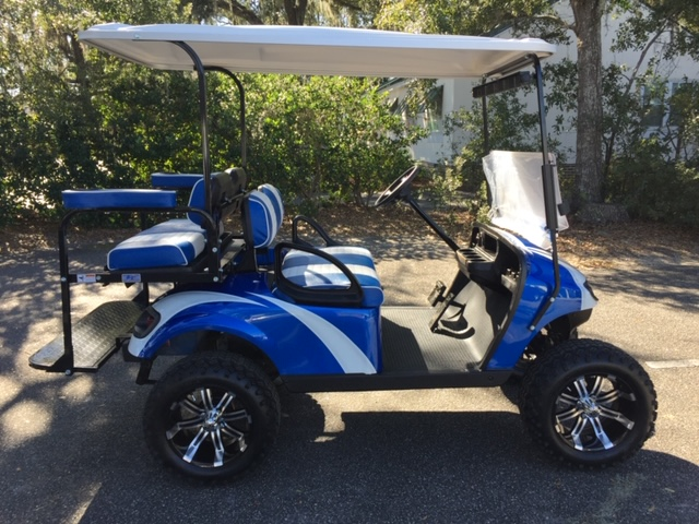 2015 Viper Blue Swirl EZGO Lifted Cart ————  Blue/white seats, white extended top, new 2019 batteries 48vt (6-8), mirror, flip windshield, high speed code, rear cup holders, Backlash (23x10x14) tires, state of charge meter and LED lights