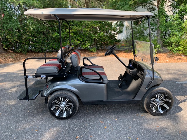 2015 Charcoal EZGO Cart ————-   Charcoal/maroon seats, grey extended top, new batteries 48vt (6-8), Lo Pro tires, high speed code, mirror, flip windshield and LED lights
