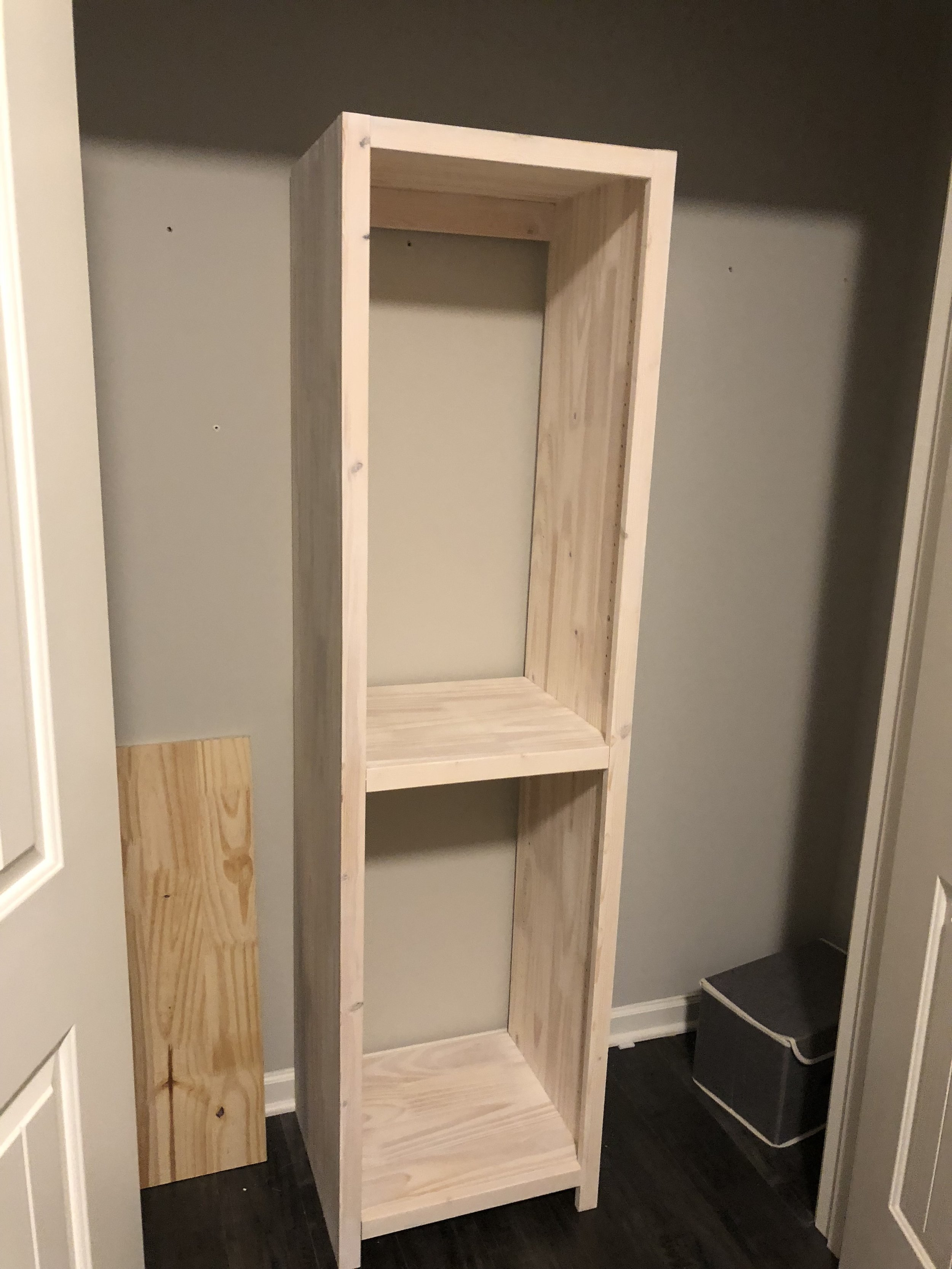 Test fit and Measure. - The shelf was placed in the closet and checked for clearance before anything else was done.