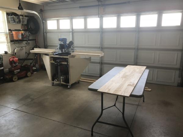 """Okay, so you don't need the miter saw.. but it helps. - Most everything needed can be pre-cut at the store where you buy your lumber, and/or cut with an inexpensive hand miter box. We started with four pieces of 72"""" x 18"""" edge glued pine, a piece of 48""""x18"""" and a piece of 48"""" x 16"""" edge glued pine."""