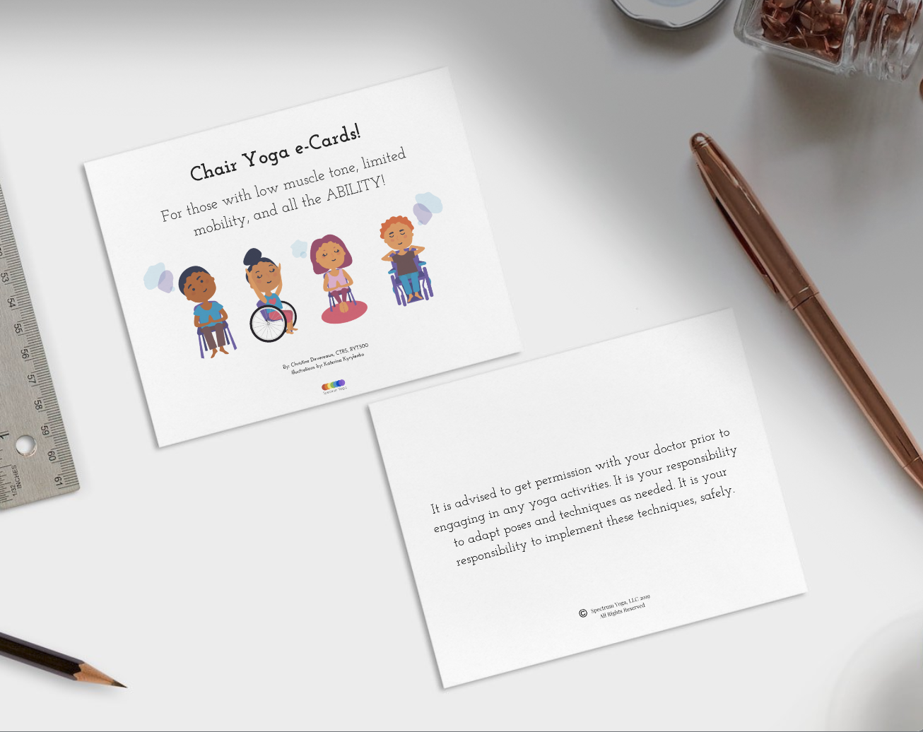 Chair Yoga e-Card Deck - For those with all the ABILITY and for classroom settings.Lesson Plan Included.