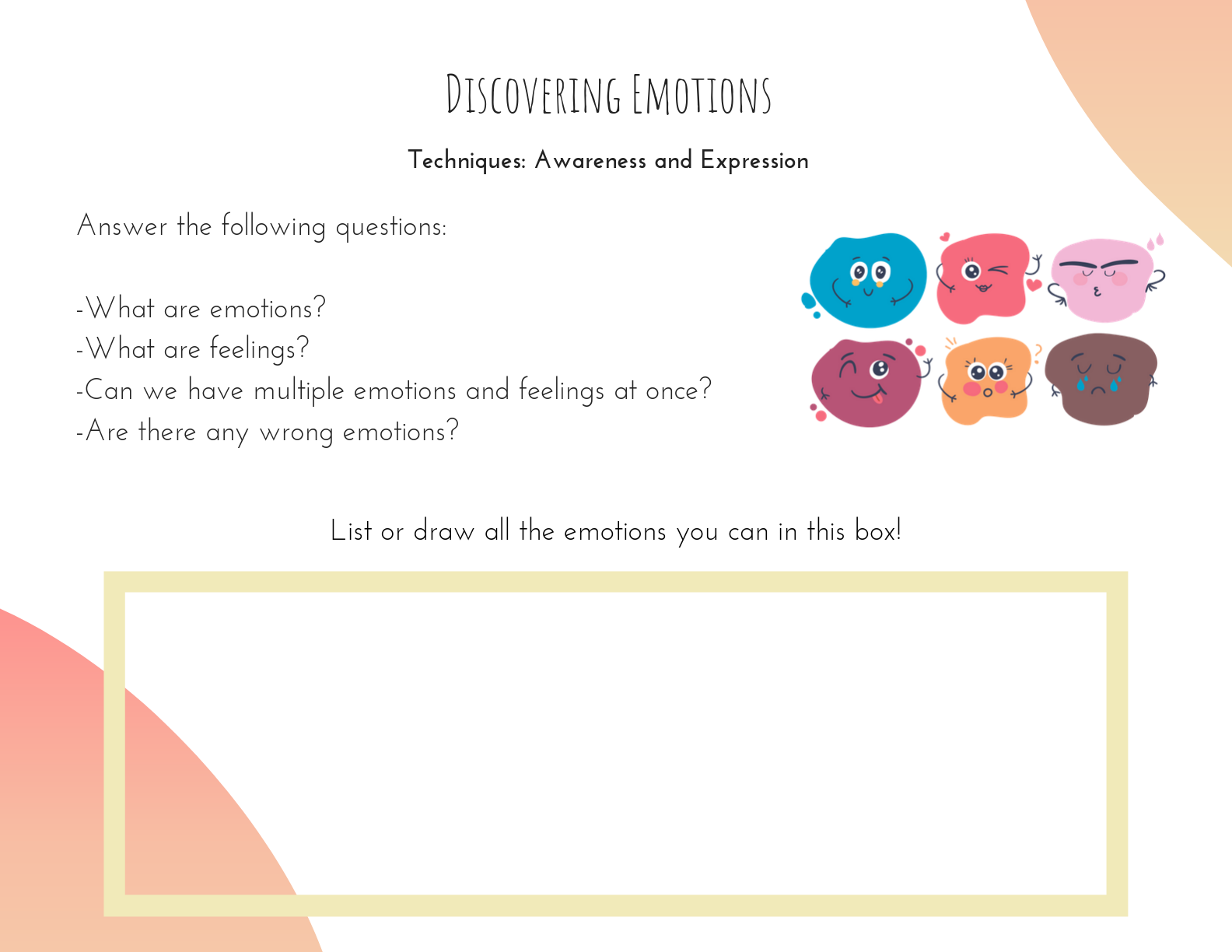 1. Initial Discussion - Use the Discovering Emotions card from the Self-Regulation & Calming e-Card Deck to make sure all students can define most emotions (the difference between anxiety, fear, and happiness is sometimes unclear for some students). Implement this step by following the cues on this eCard and adding necessary teaching points as needed.Allow at least five minutes for this step.