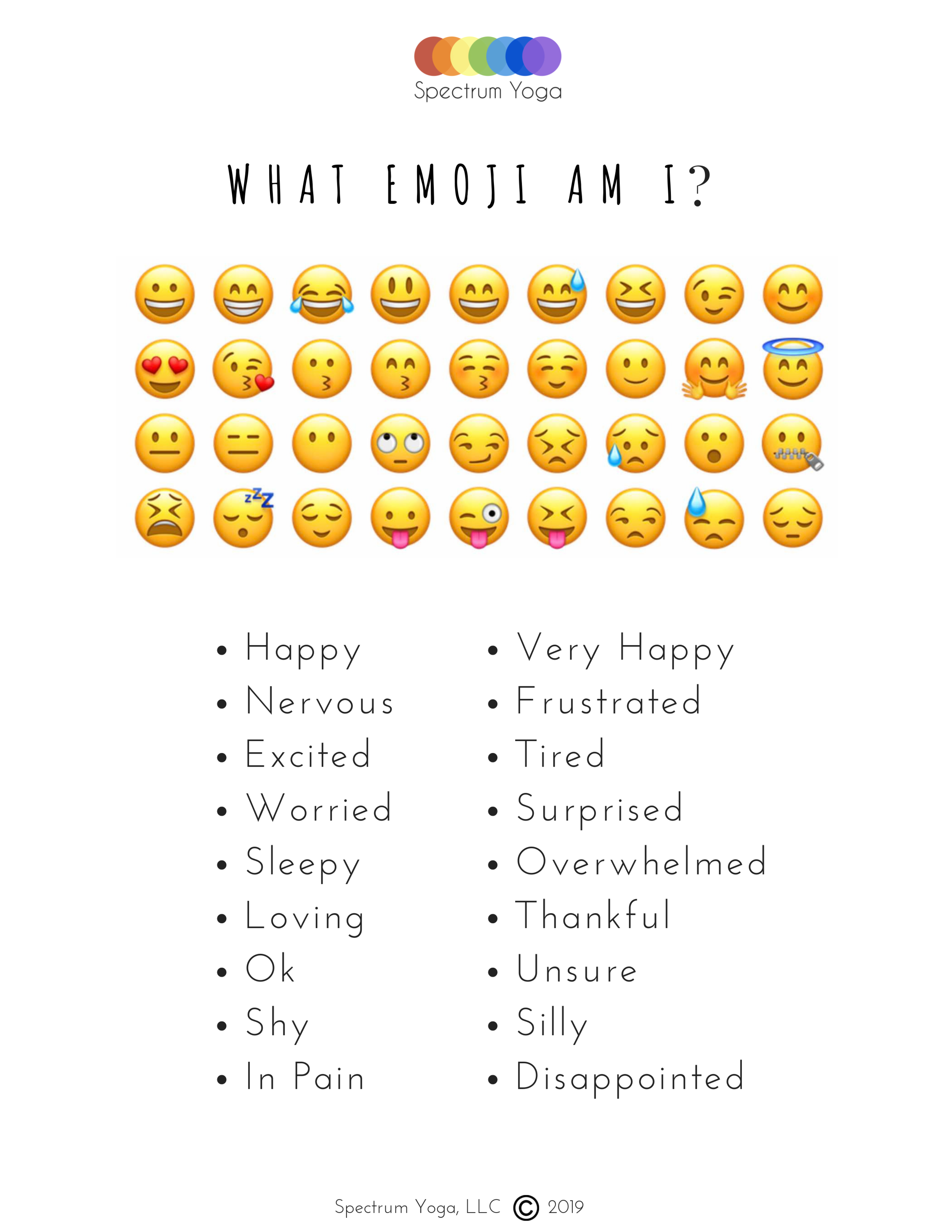 2. Self-Assessment - The What Emoji Am I? tool is a great tool to support mindfulness and emotional awareness, identification, and expression.This 6 page PDF offers over 20 cues and many activities. Read through before implementing with your child or students and choose the ones that best fit their needs.Allow at least 5 minutes for this step.