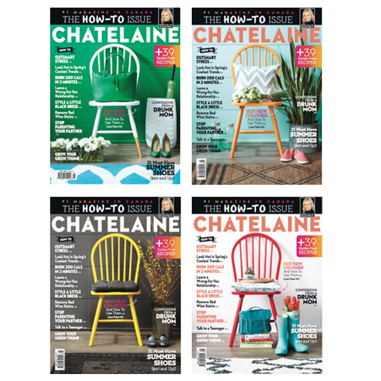 Qanūk Interiors was hired to style the 4 unique covers of Chatelaine Magazine's May 2013 issues along with stylist Julia Black. This coincided with the unveiling of their revamped bilingual  NEW LOGO  for the 85th anniversary of the magazine.