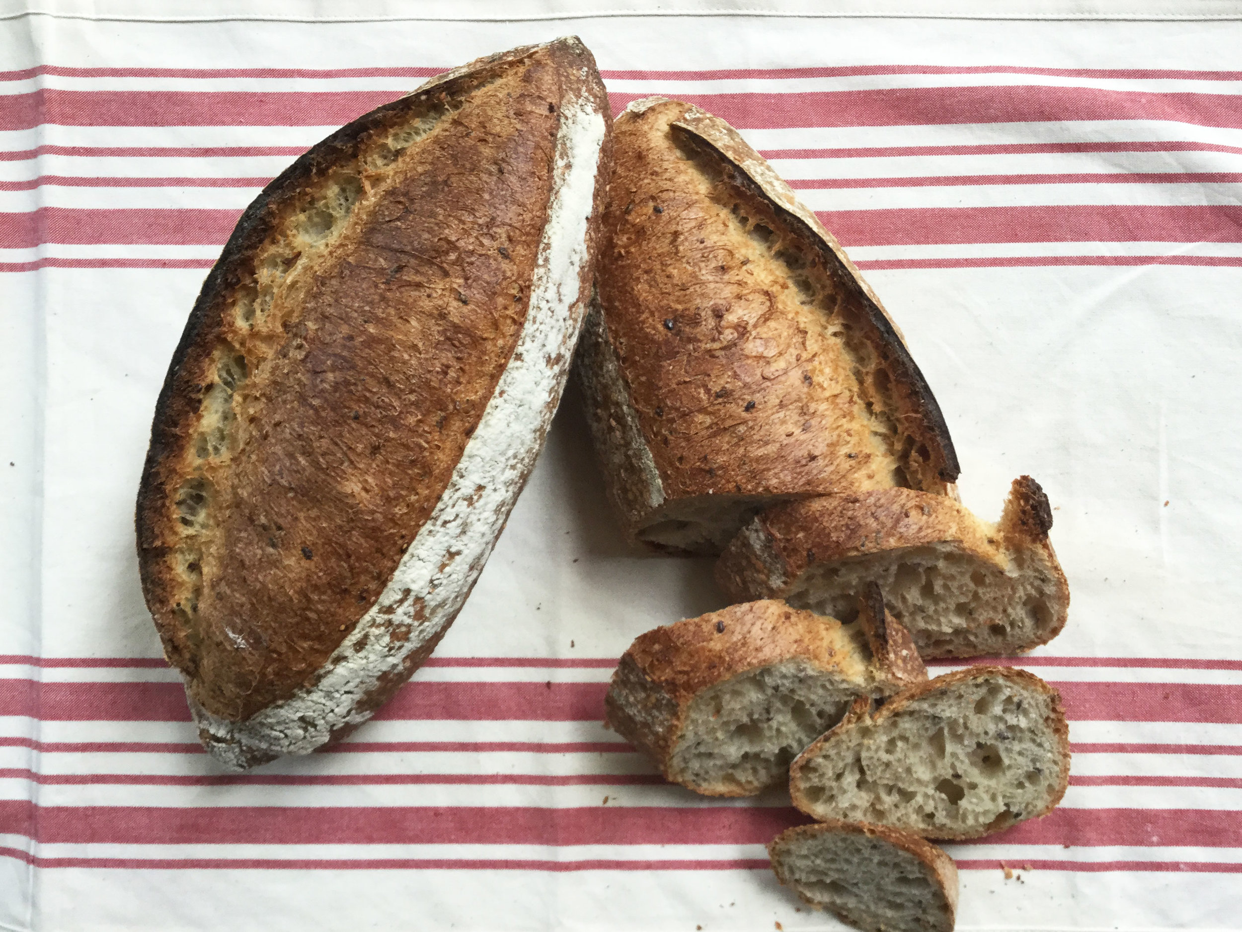 CEREAL   Mixed grains and seeds give this light, multi grain bread a marvelous, nutty flavor.   Ingredients: Unbleached white flour, sourdough starter, sesame seeds, flax seeds, oats, wheat germ, sea salt, water.