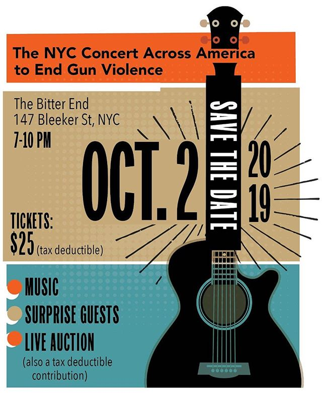 "SAVE THE DATE AND PURCHASE YOUR TICKETS! For October's show, we are doing something a little different at theMIC. This is going to be a much larger fundraising effort as we host NYC's OFFICIAL Concert Across America to End Gun Violence. ""The mission of the ""Concert Across America"" is to remember the tremendous loss of life that gun violence has cost our communities. And while it's primarily a day of awareness, local organizers can choose to fundraise for a designated local gun violence prevention (GVP) partner or for a local domestic violence shelter as one of its goals. We aim to make gun violence prevention the #1 voting issue. Tickets are $25 and are tax deductible. Link in bio for more info! #theMIC • • • Hope to see you at Wednesday's show at The Bitter End starting at 7:30pm. Don't forget to buy your tix for October's show! ❤️❤️"