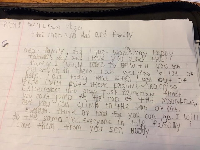 William's letter to his family.