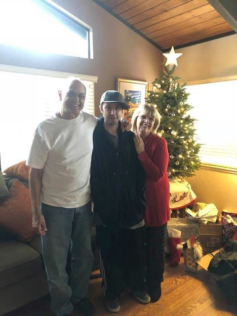 Danny with his Mom & Dad Christmas 2017