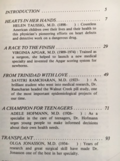 Table of Contents: Contributions of Women: Medicine