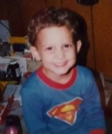 My son at three in his Superman p.j.'s