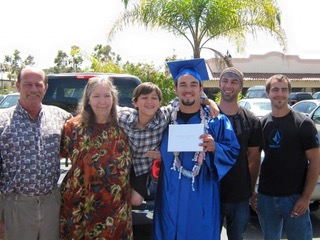 Joseph's high school graduation. From left to right: dad, John; Rebecca; Joseph's nephew, Hunter; Joseph; Joseph's eldest brother, Joshua; and middle elder brother, Jonathan.