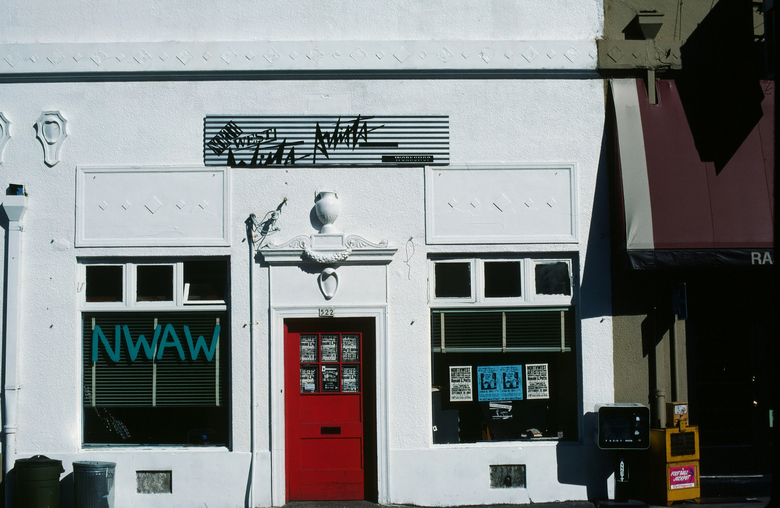 In the 1980s, The Northwest Artists Workshhop was located on NW 12th Street next to the Quartersaw Gallery. The workshop provided local artists a place to meet and exchange ideas. The building later became the Pulliam Deffenbaugh Gallery