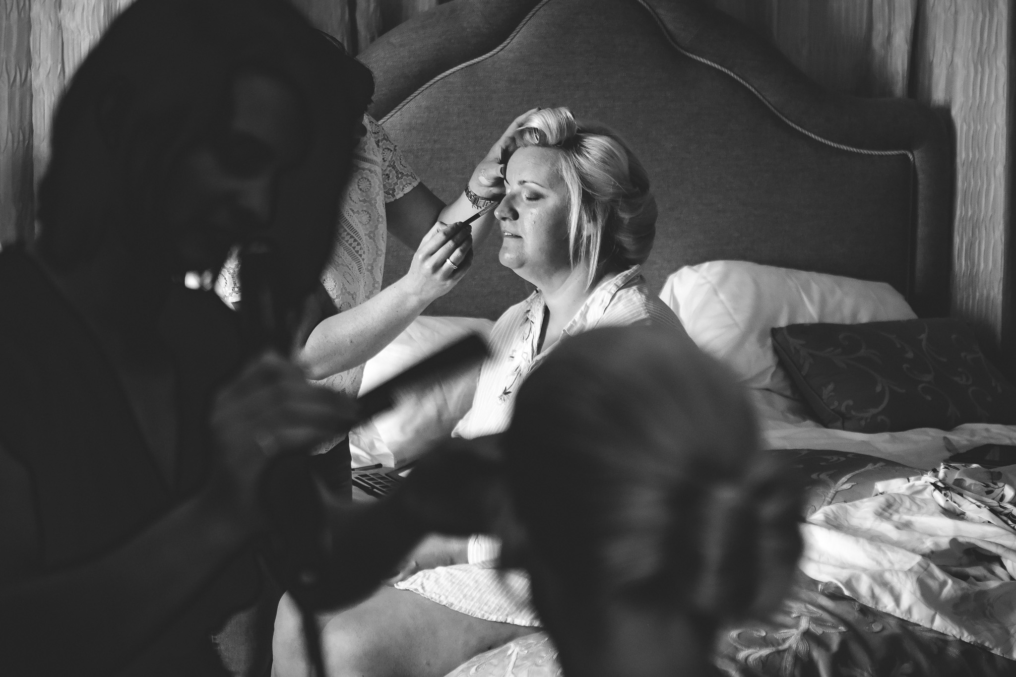 Bride having the final touches before the ceremony
