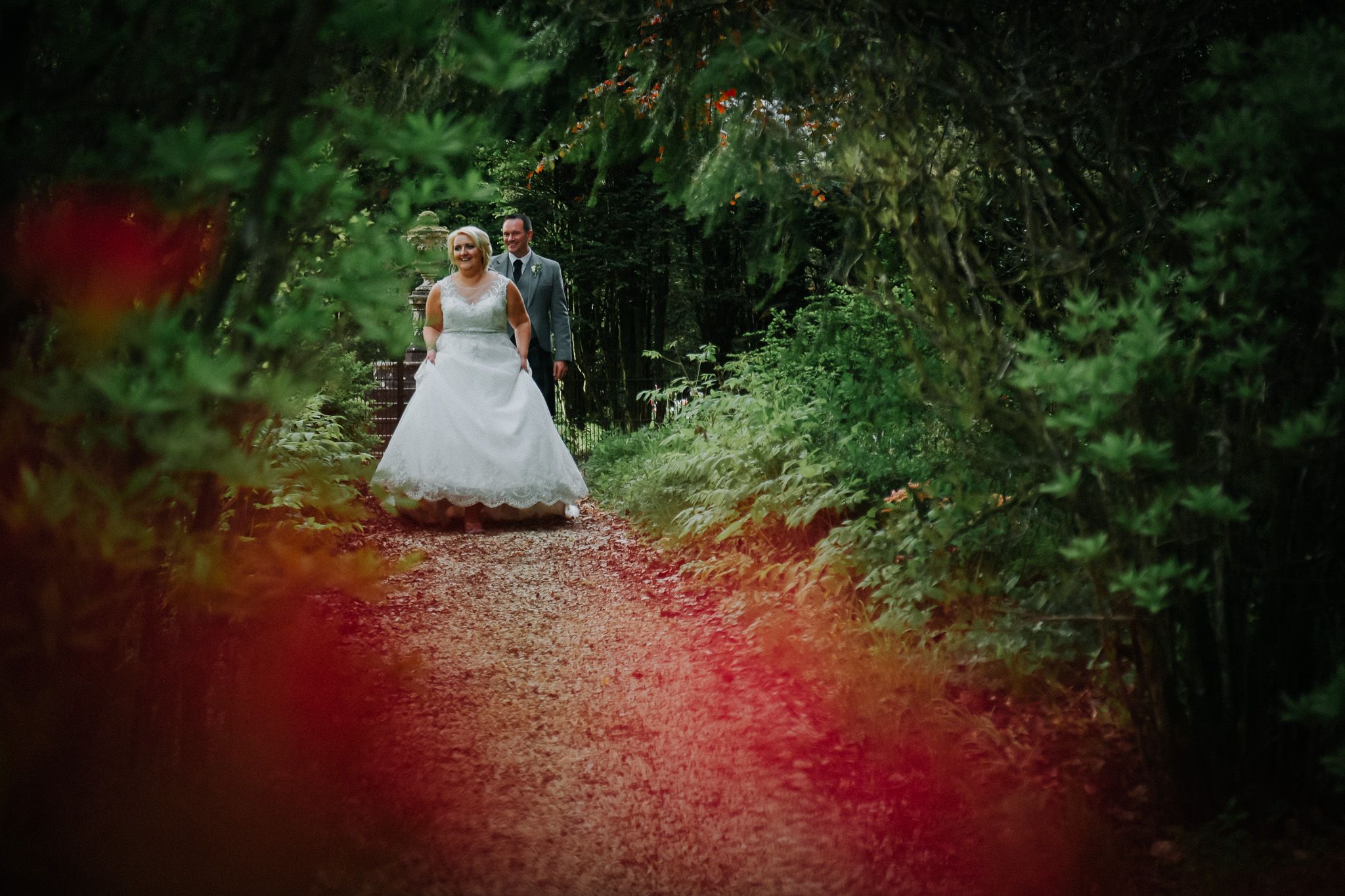 Bride and groom having relaxed portrait photographs