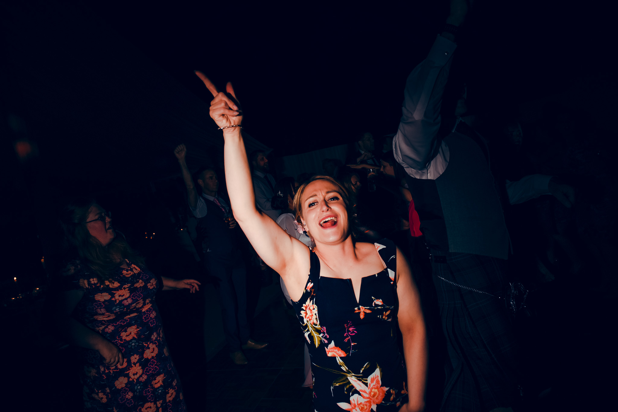 Wedding guest partying
