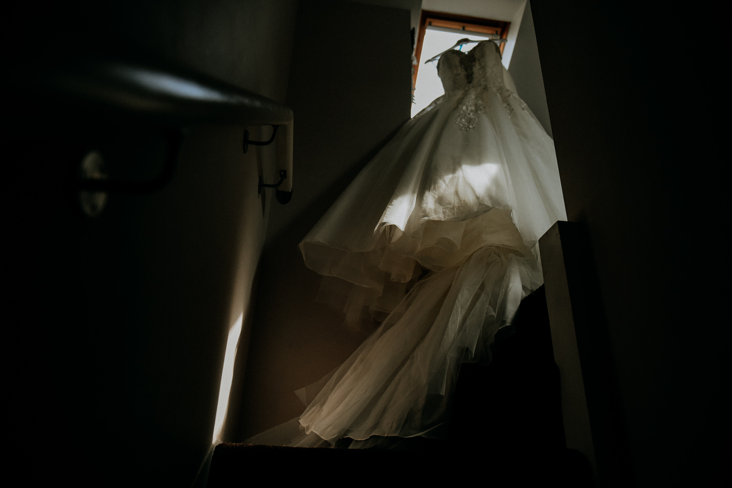 Window light on a wedding dress