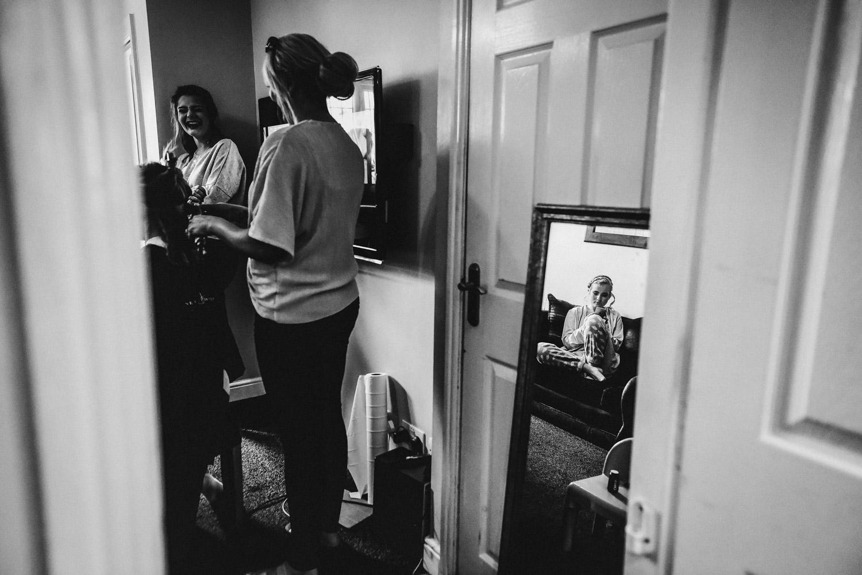 reflection of bridesmaid